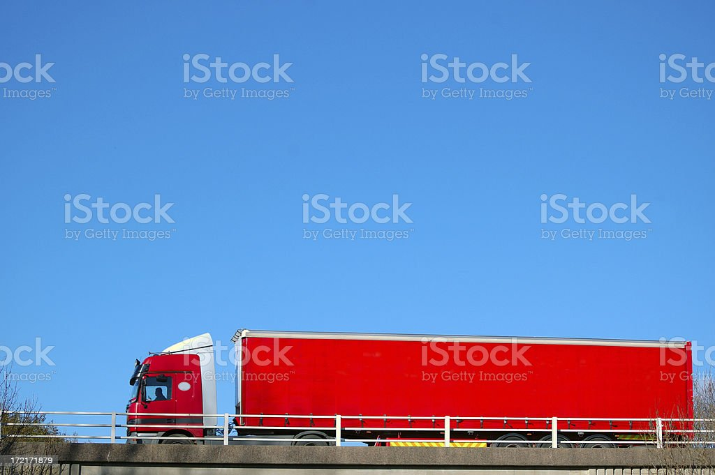 red tuck and trailer royalty-free stock photo