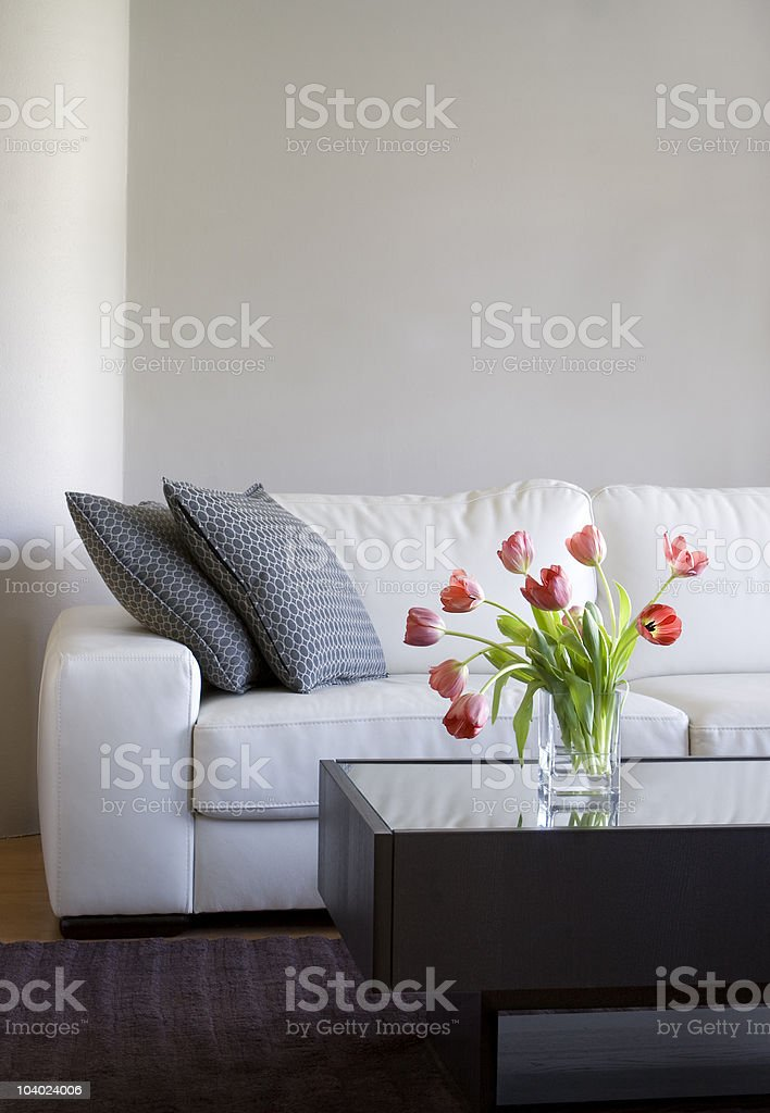 red tulips in modern living room - home decor royalty-free stock photo