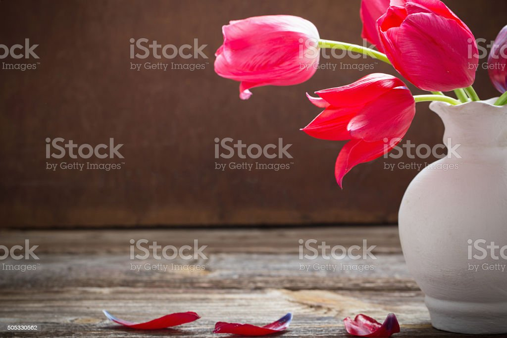 red tulips on old dark background stock photo
