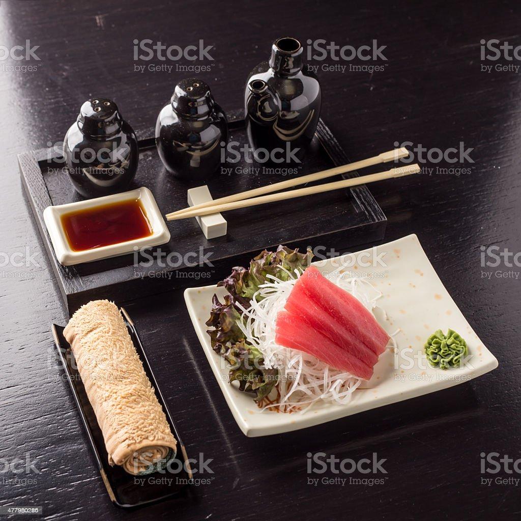 Red tuna steak stock photo