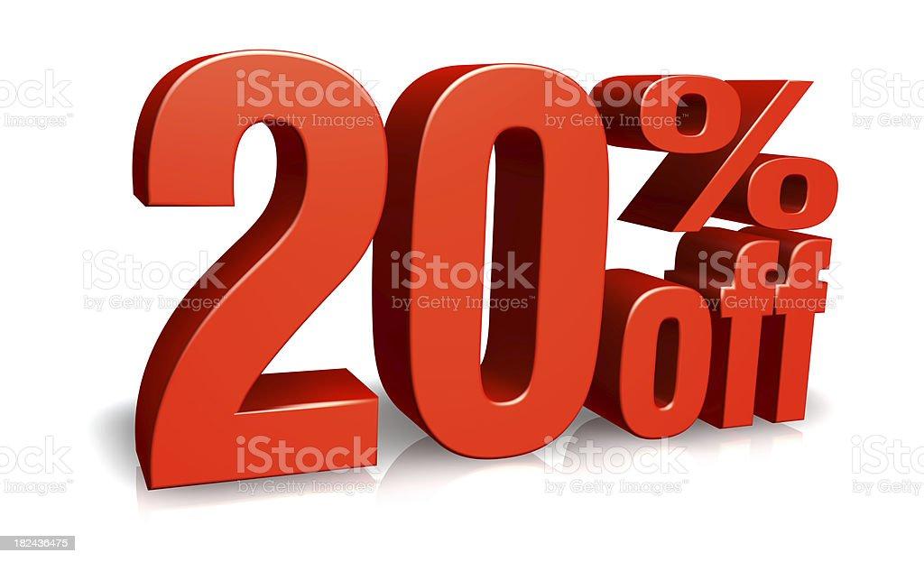Red  Twenty Percent Off royalty-free stock photo