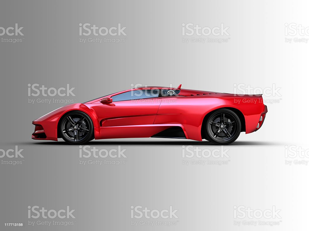 Red two door sports car on grey background stock photo