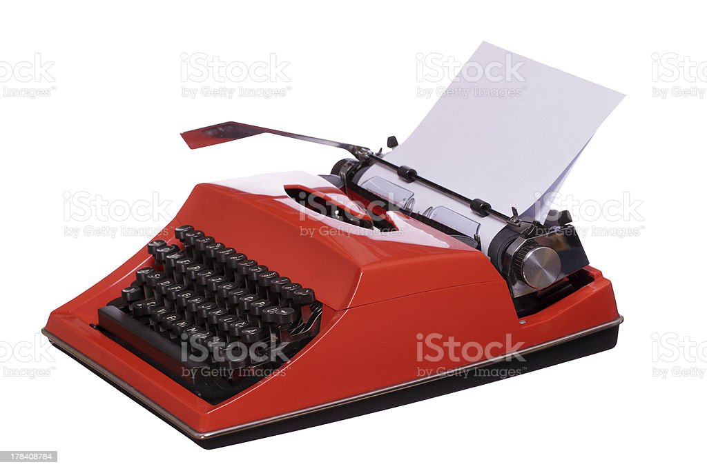 red typewriter with paper royalty-free stock photo