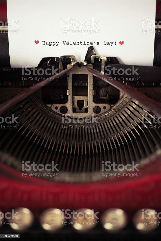 Red Typewriter with Valentine's Note stock photo