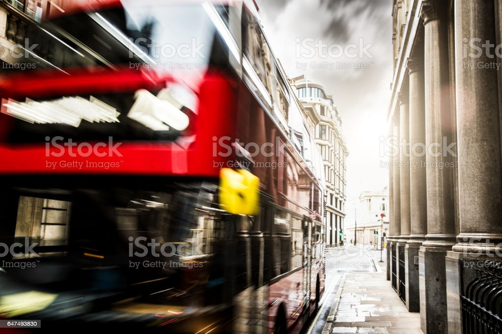 Red typical London bus in Central London stock photo