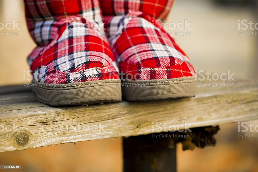 Red ugg shoes stock photo