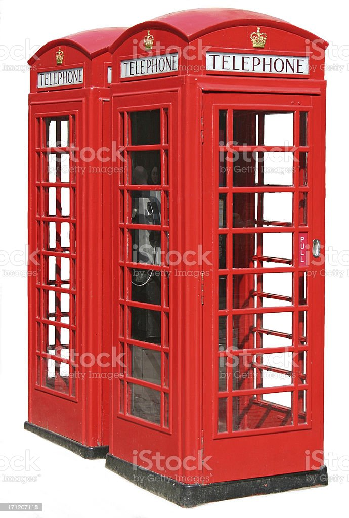 Red UK telephone boxes with clipping path isolated on white royalty-free stock photo