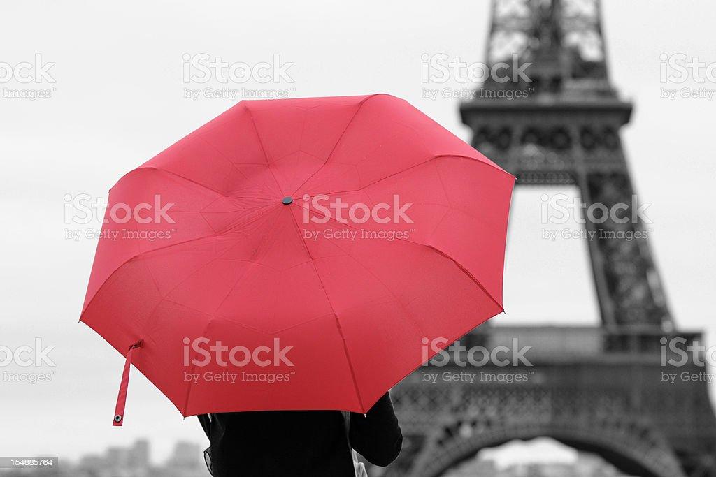 Red Umbrella and Paris - XLarge stock photo