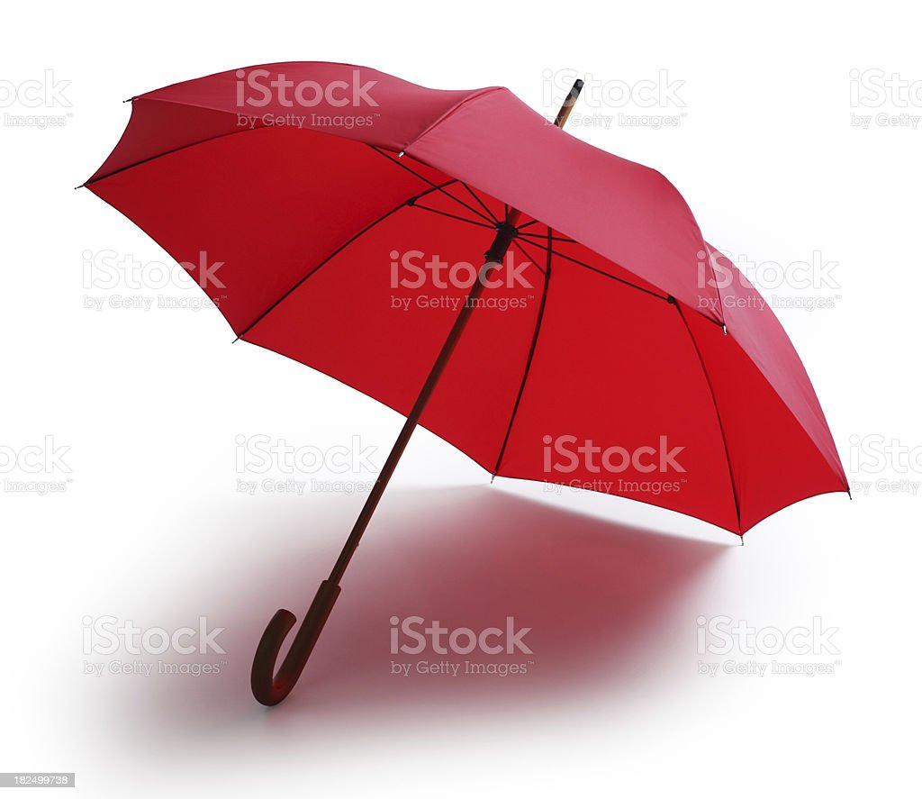 Red Umbrella Isolated on a White Background stock photo