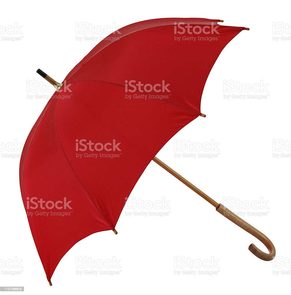 Red Umbrella (isolated with clipping path over white background) royalty-free stock photo