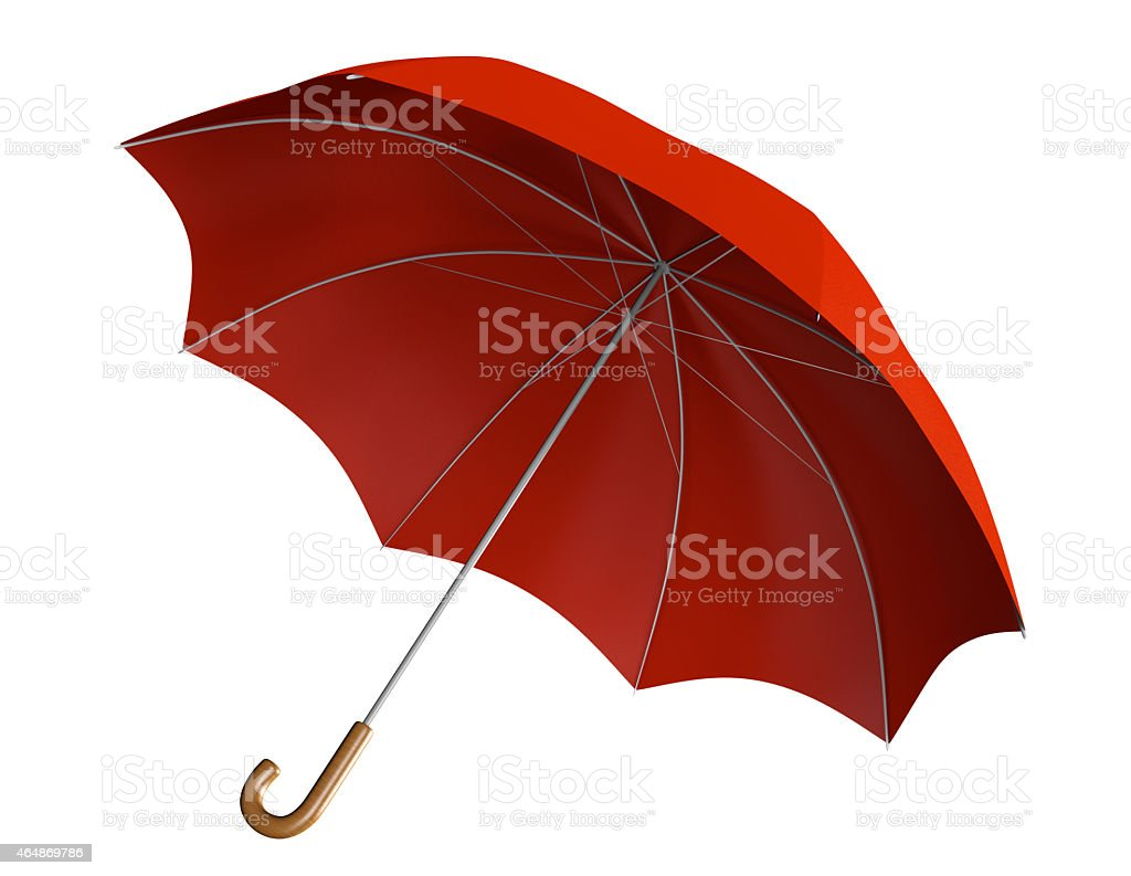 Red umbrella with classic curved handle stock photo
