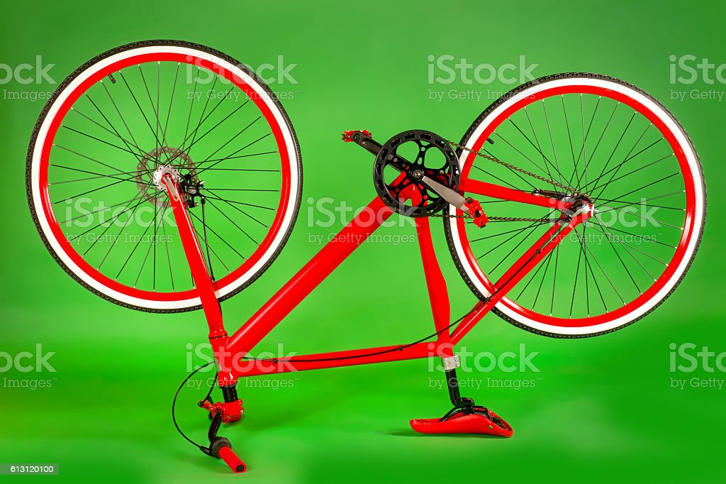 Red upside bicycle stock photo
