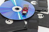 Red usb drive put on cd.