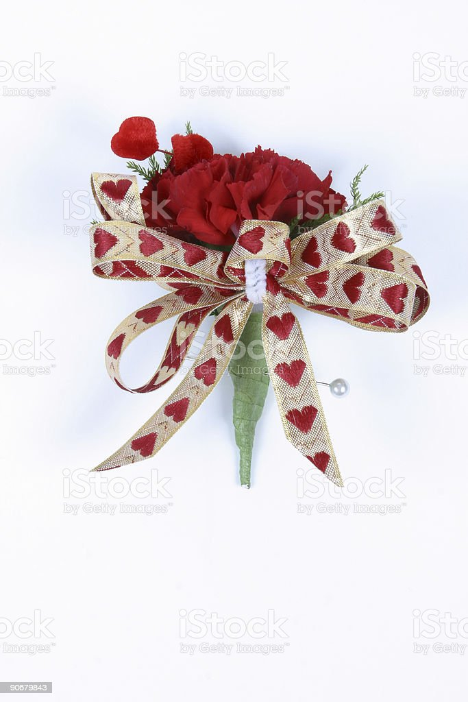 Red Valentine Boutonniere royalty-free stock photo