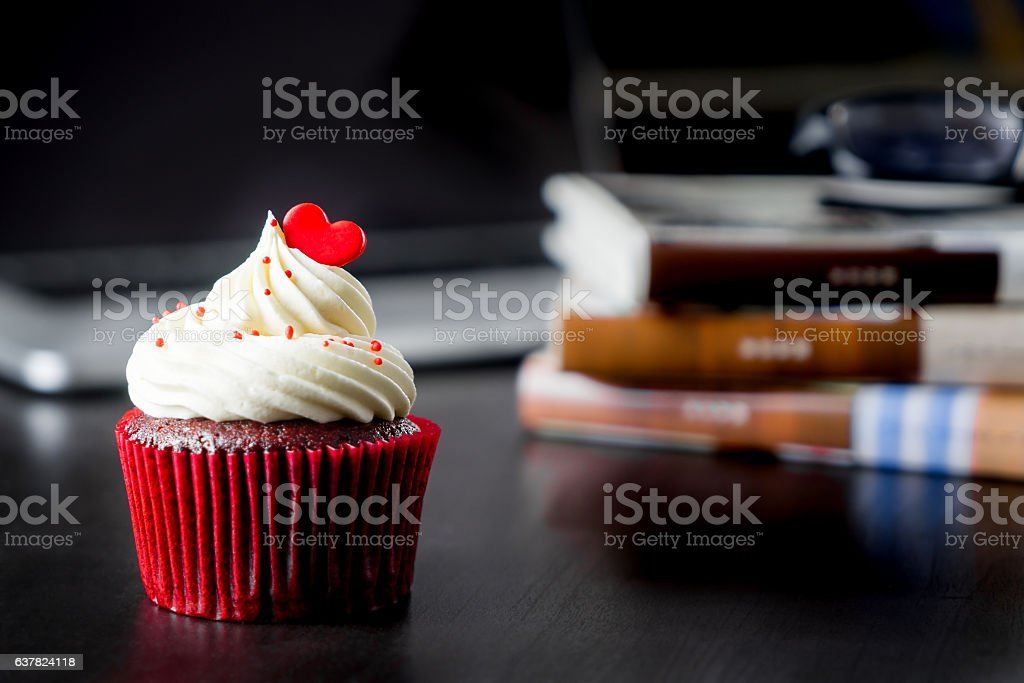 Red Valentine heart shaped love cupcake stock photo