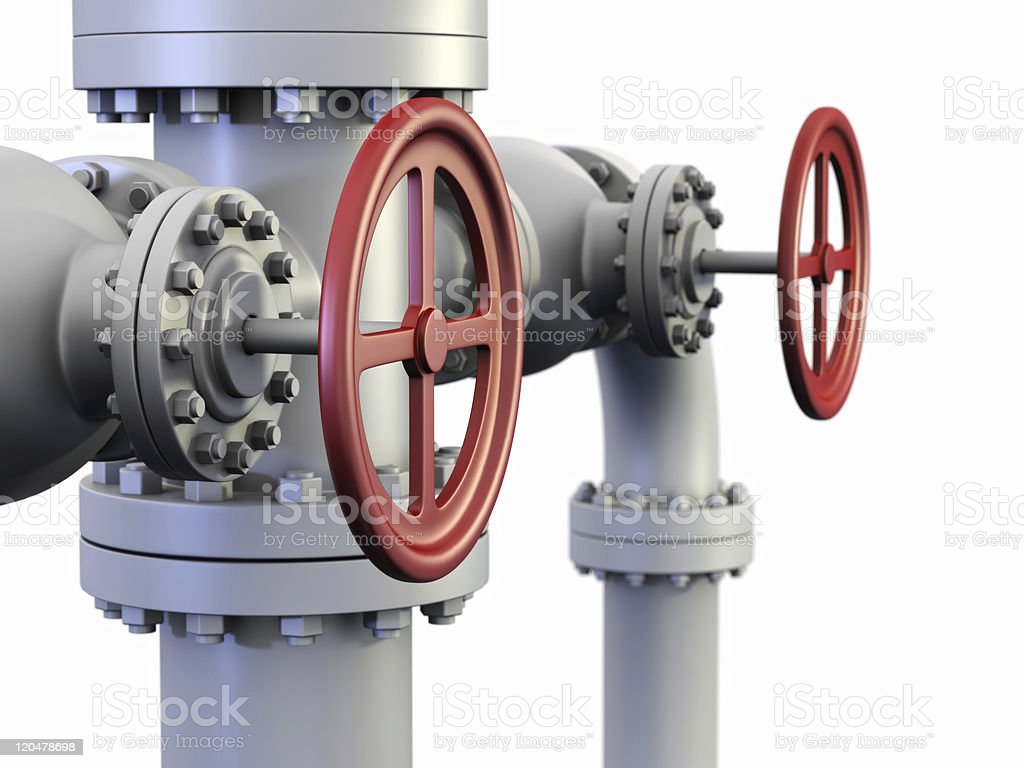 Red Valve on oil and gas pipe system. royalty-free stock photo