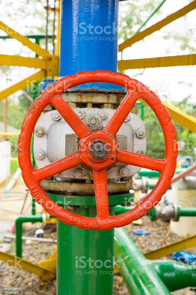 Red Valve on the pipeline stock photo