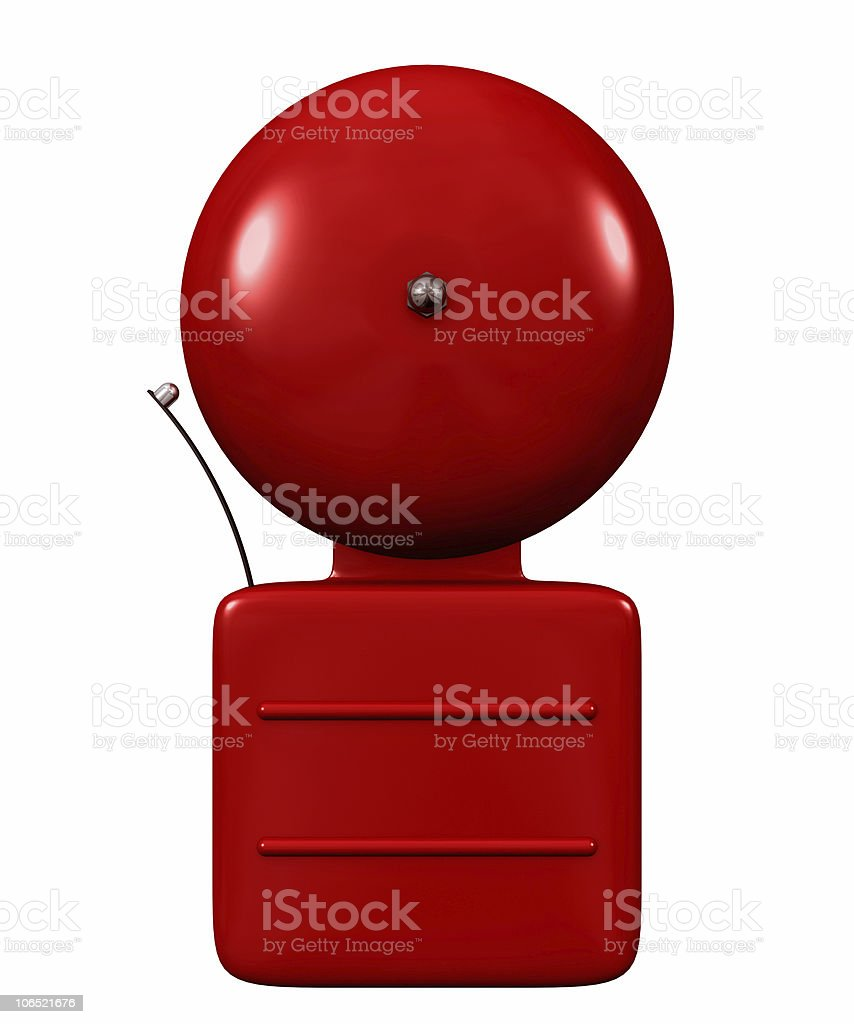 Red vector graphic of an old fashioned alarm bell on white stock photo