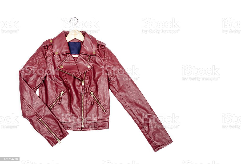 Red Vegan Leather Jacket Isolated royalty-free stock photo