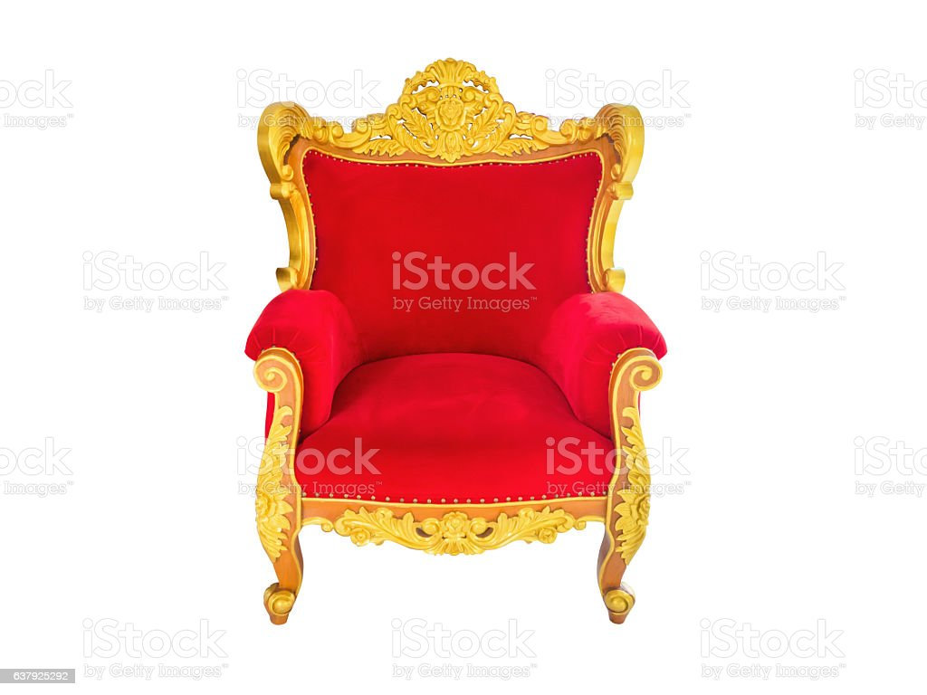 red velvet and gold armchair. stock photo