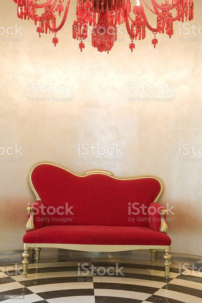 Red Velvet Armchair stock photo