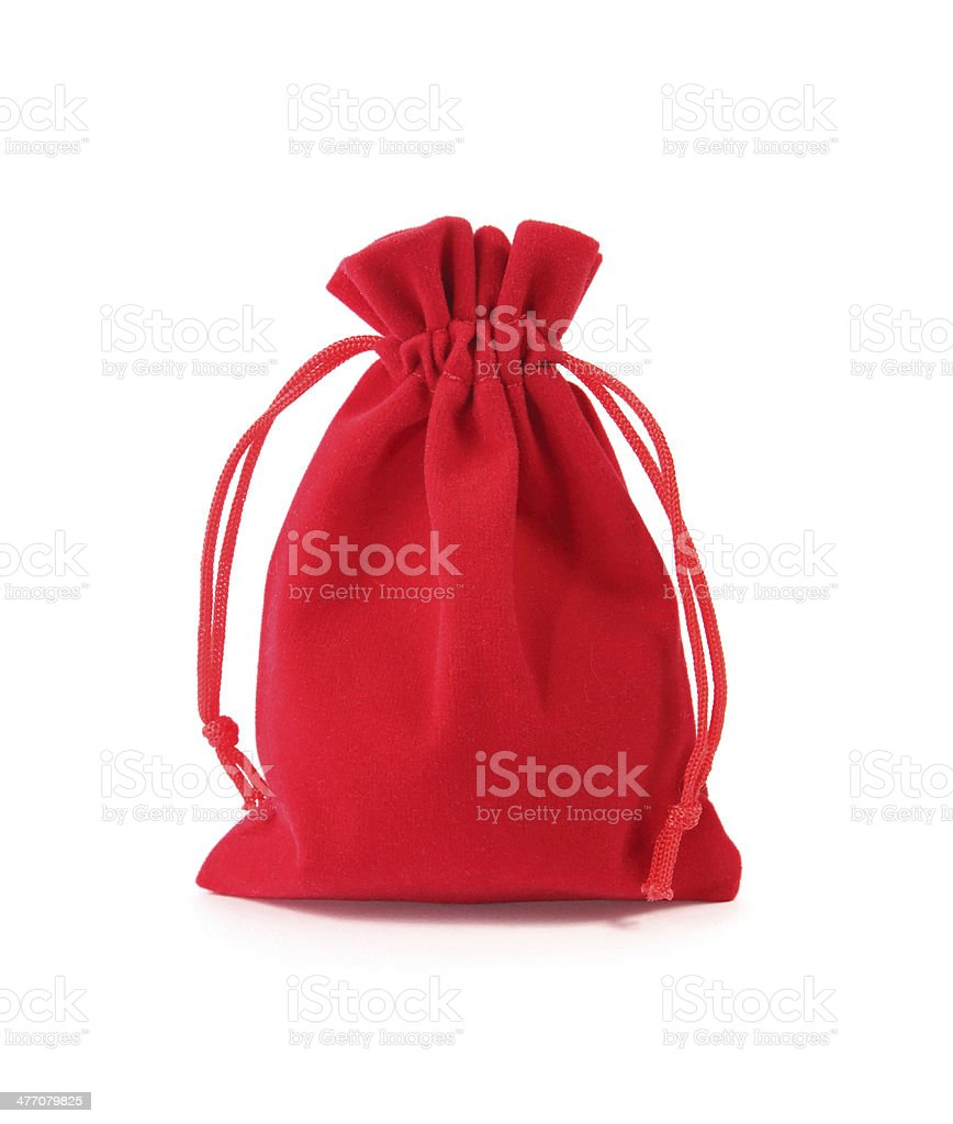 Red velvet bag isolated on white background stock photo