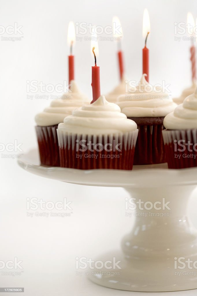 Red Velvet Birthday Cupcakes royalty-free stock photo