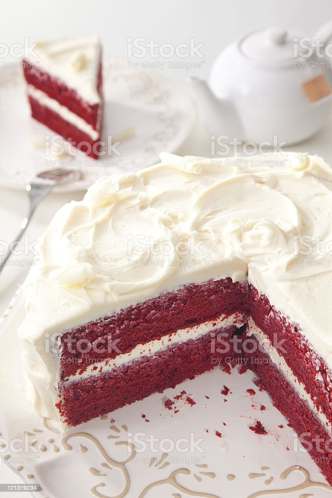 Red Velvet Cake and Tea royalty-free stock photo