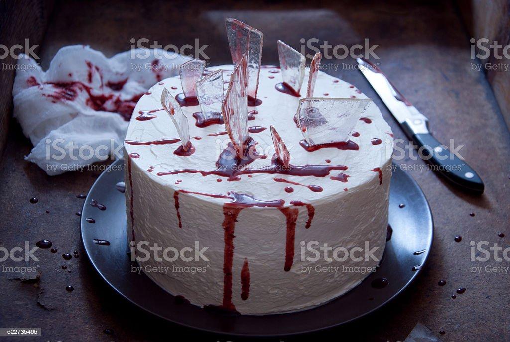 Red velvet cake decorated for Halloween stock photo