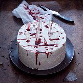 Red velvet cake decorated for Halloween