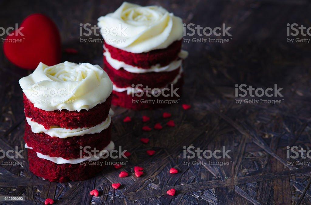 Red velvet cake for lovers stock photo