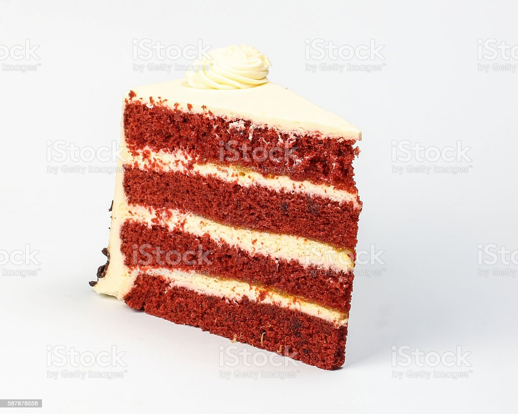 Red Velvet Cake piece stock photo