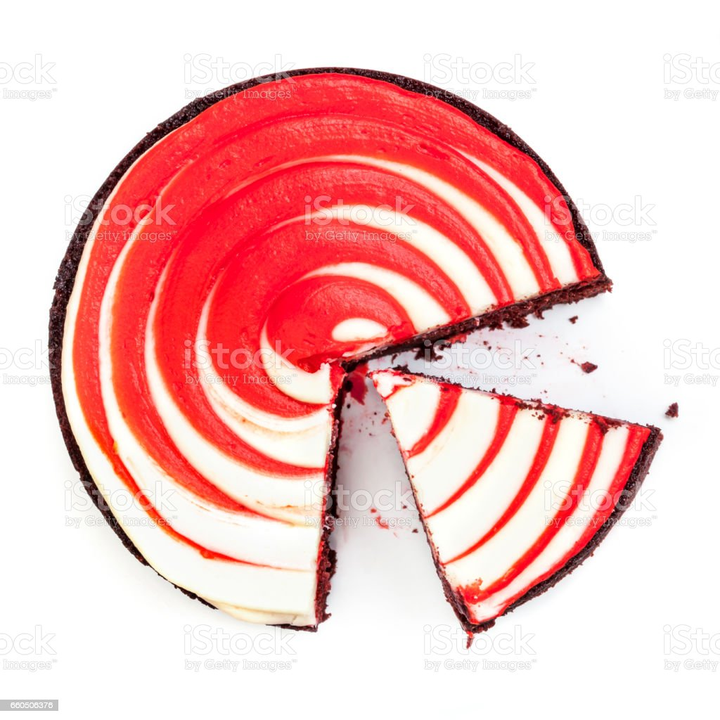 Red Velvet Cake Top View Cut Isolated on White stock photo