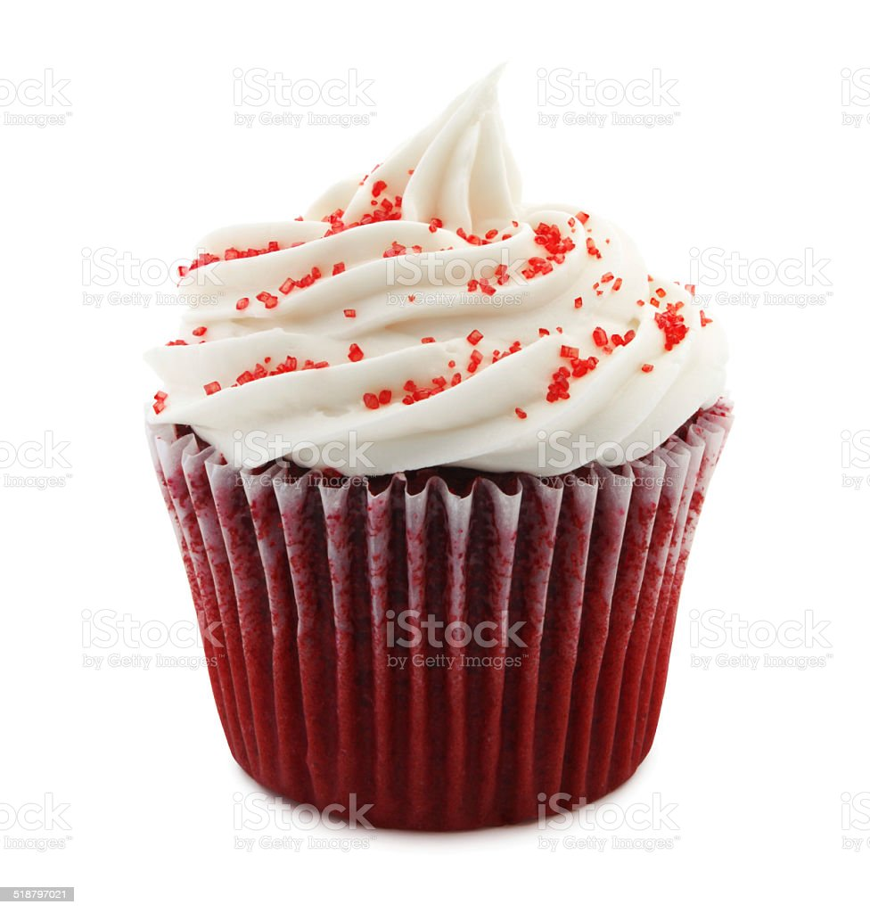 Red Velvet cupcake (with path) stock photo