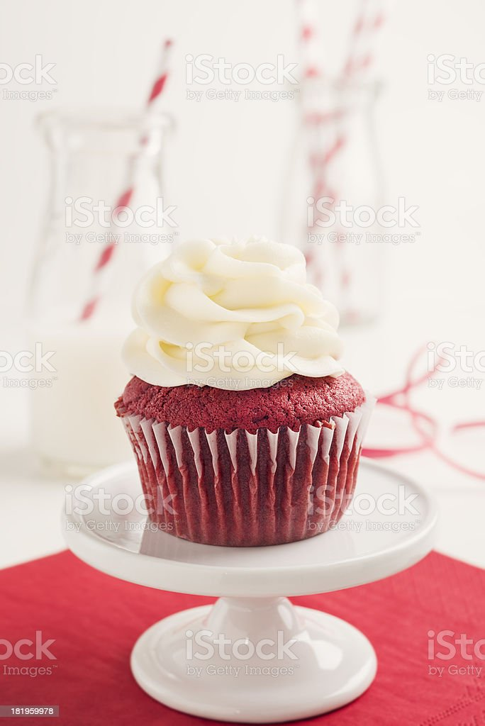 Red Velvet Cupcake with Milk royalty-free stock photo