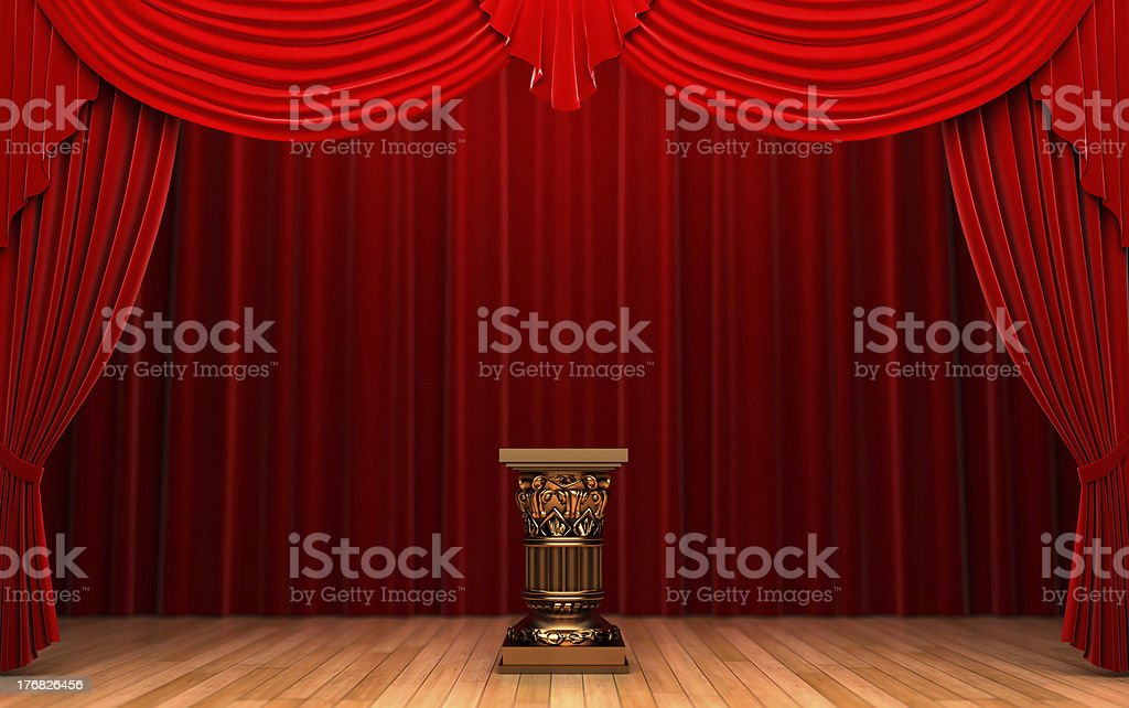 red velvet curtains and Pedestal royalty-free stock photo