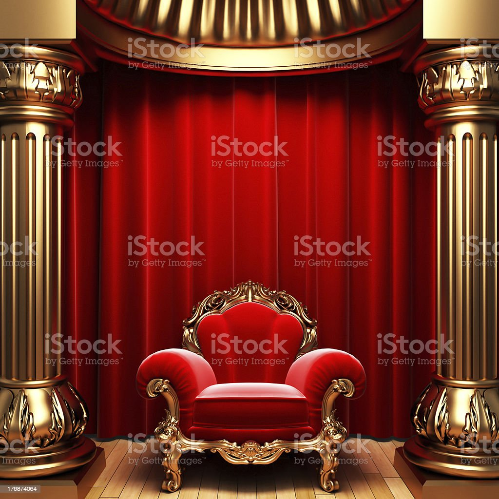 red velvet curtains, gold columns and chair stock photo