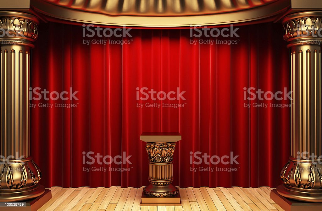 red velvet curtains, gold columns and Pedestal stock photo
