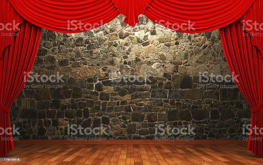 red velvet curtains royalty-free stock photo