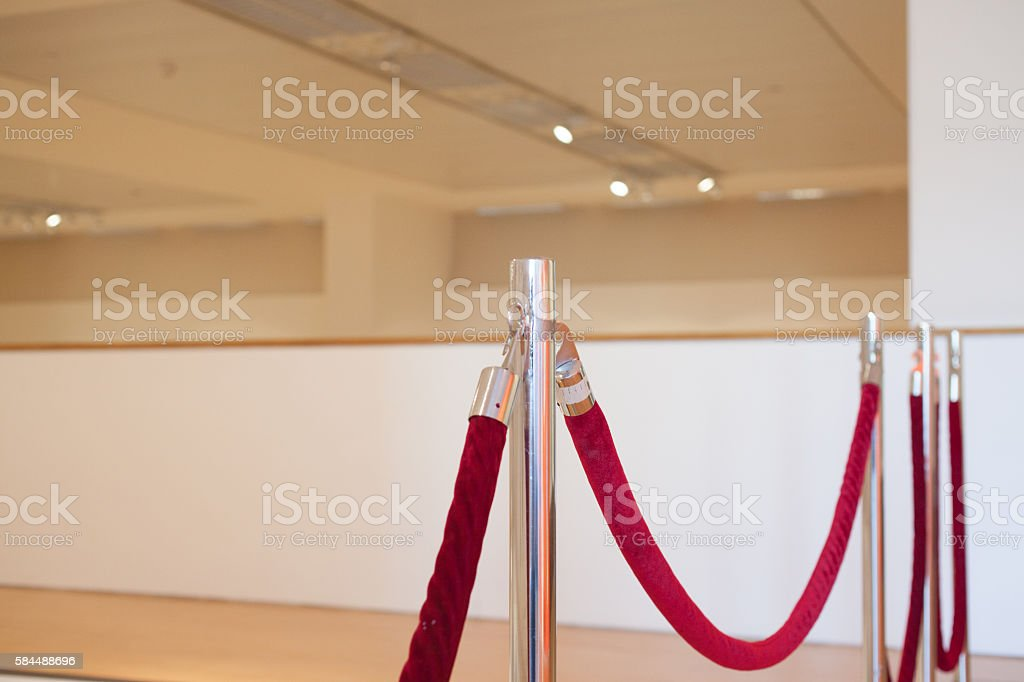 Red Velvet Fence Rope in a Gallary stock photo