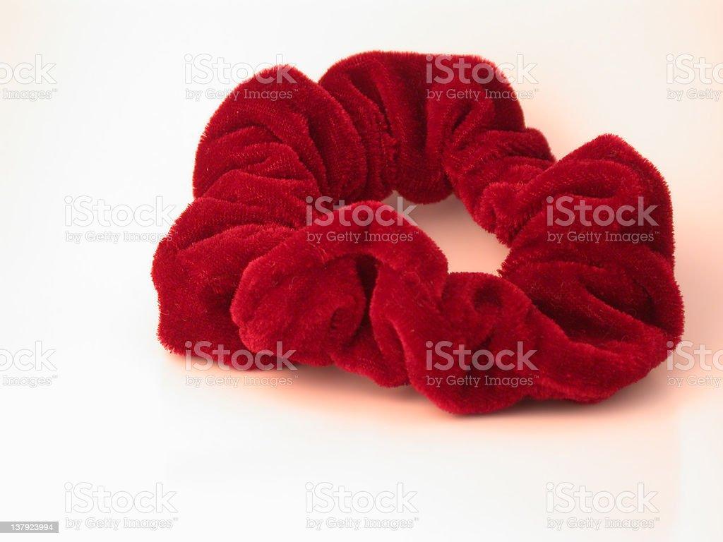 Red Velvet Hair Scrunchy stock photo