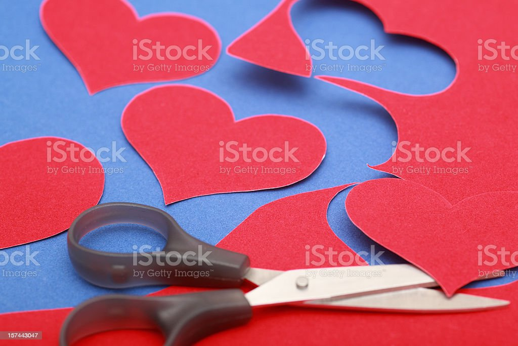 Red velvet hearts stock photo
