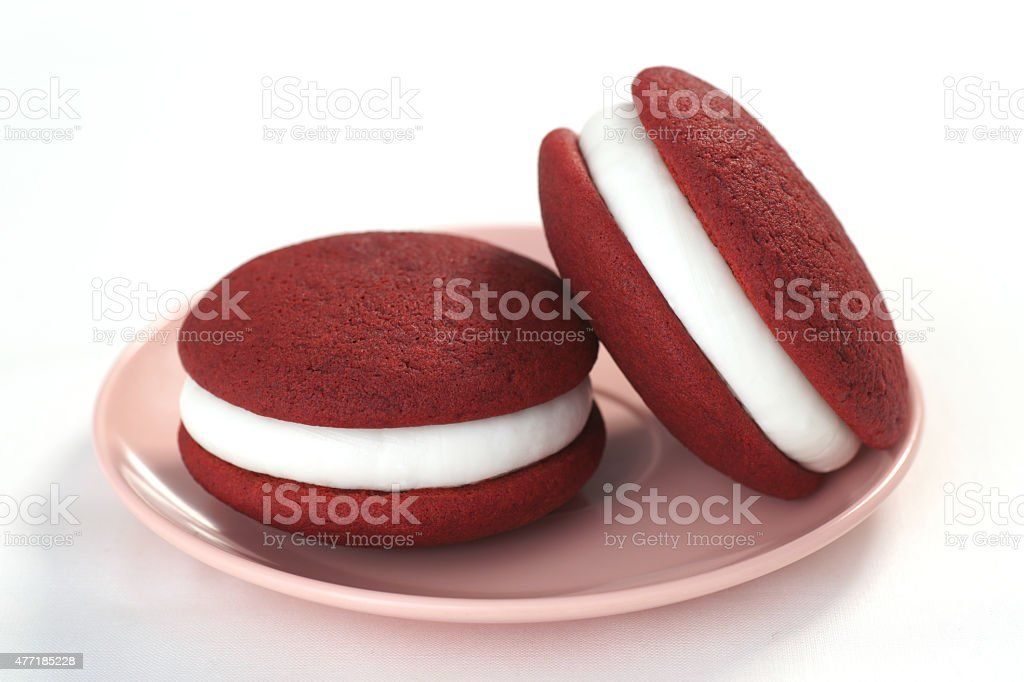 Red Velvet Moon or Whoopie Pies with Cream Cheese Frosting stock photo