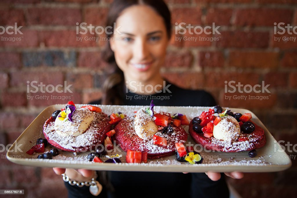 Red Velvet Pancakes stock photo