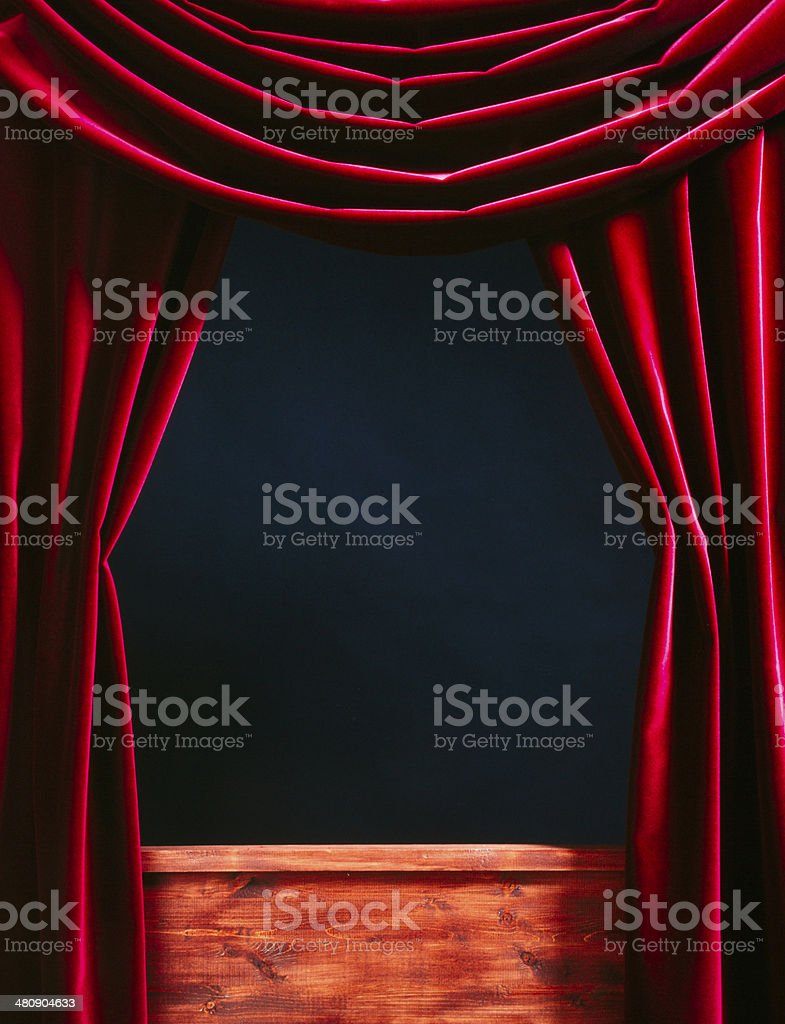 Red Velvet Theater courtains stock photo