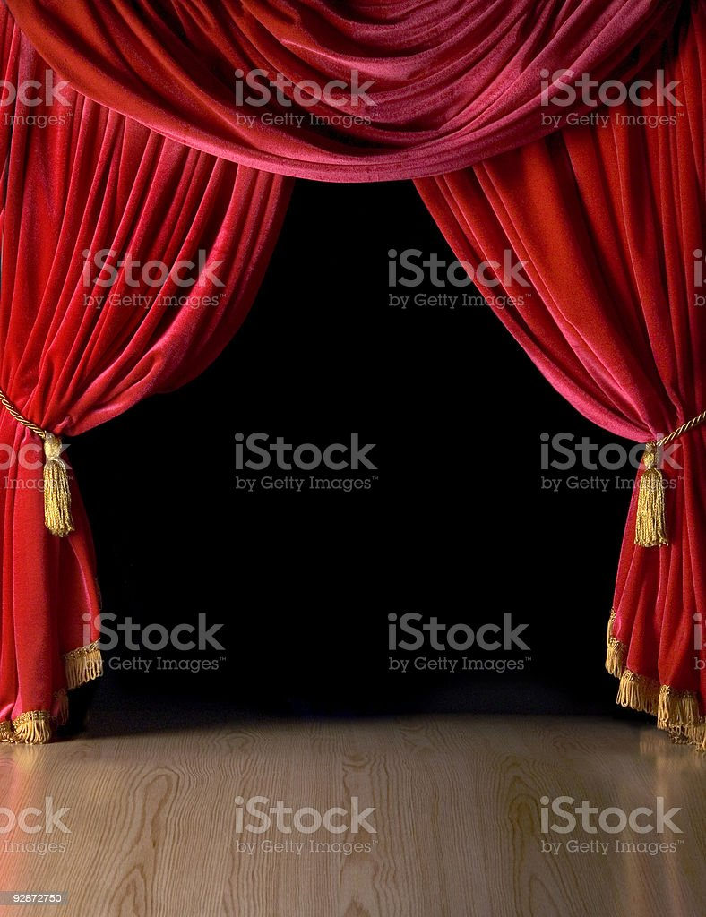 Red Velvet Theatre courtains stock photo