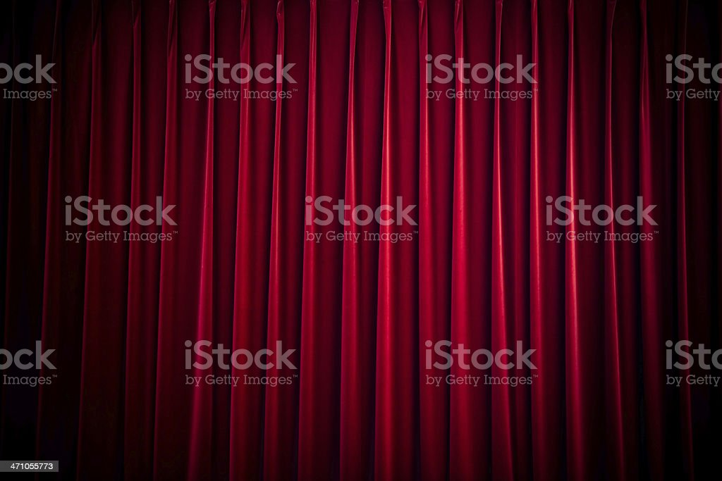 red velvet theatre curtain stock photo