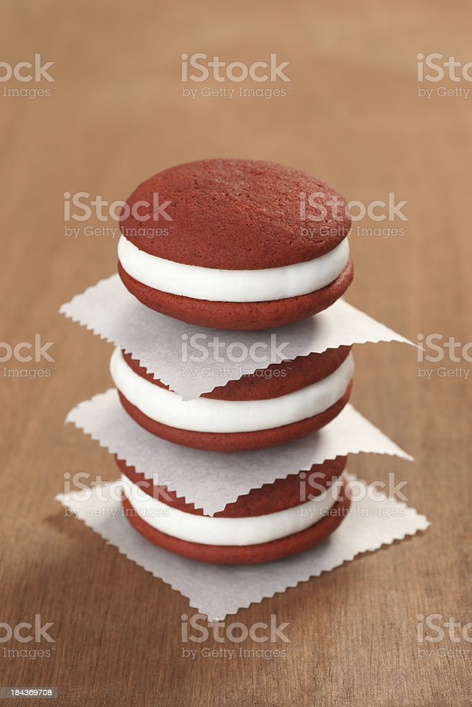 Red Velvet Whoopie Pie Stack stock photo