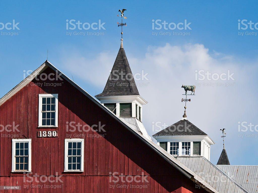 Red Vermont Barn Cupolas & Weathervanes stock photo