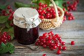 Red Viburnum jam and basket of red healthy berries.